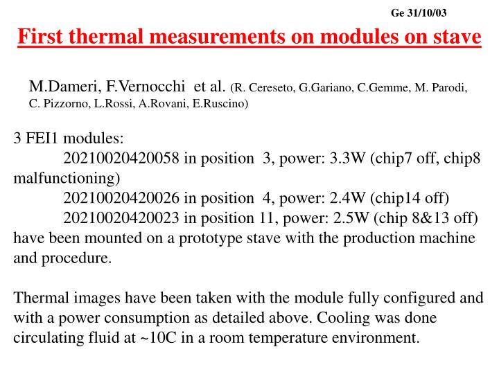 first thermal measurements on modules on stave