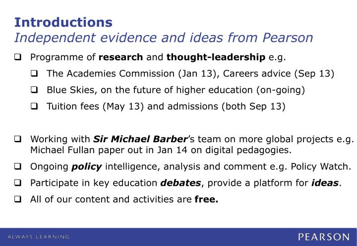 Introductions independent evidence and ideas from pearson