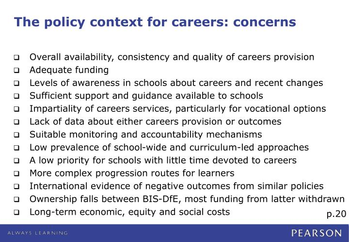 The policy context for careers: concerns
