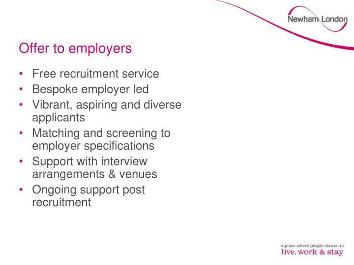 Offer to employers