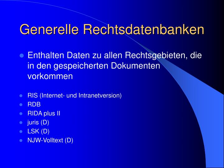 Generelle Rechtsdatenbanken