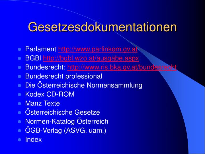 Gesetzesdokumentationen