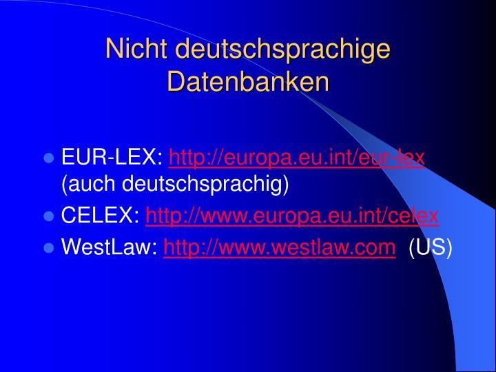 Nicht deutschsprachige Datenbanken