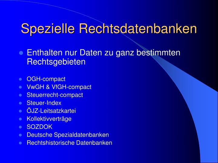 Spezielle Rechtsdatenbanken