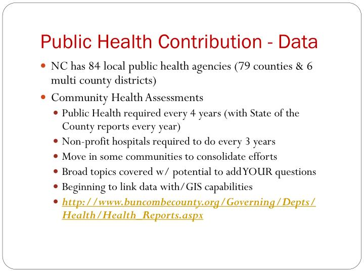 Public Health Contribution - Data