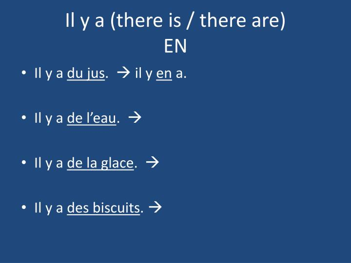 Il y a there is there are en