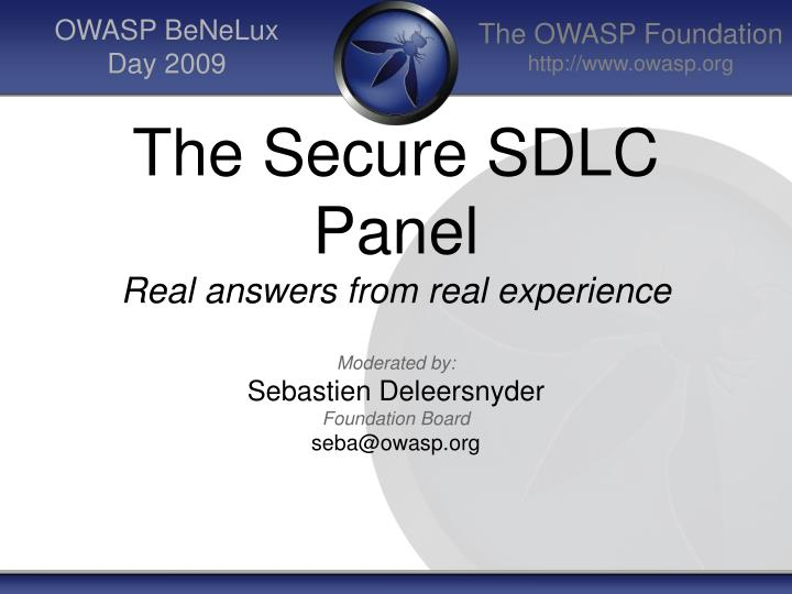the secure sdlc panel real answers from real experience
