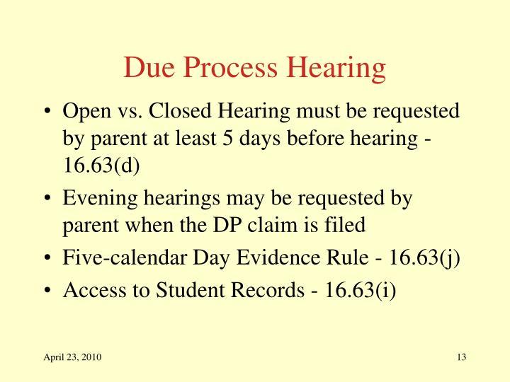 Due Process Hearing