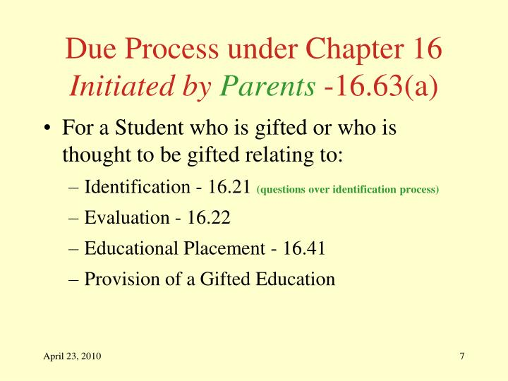 Due Process under Chapter 16