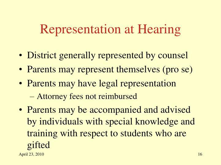 Representation at Hearing