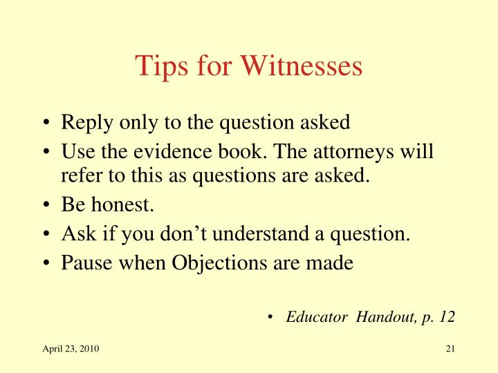 Tips for Witnesses