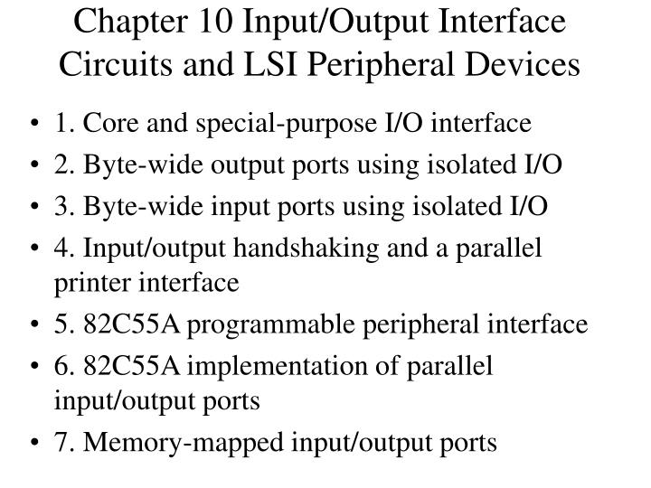 chapter 10 input output interface circuits and lsi peripheral devices n.