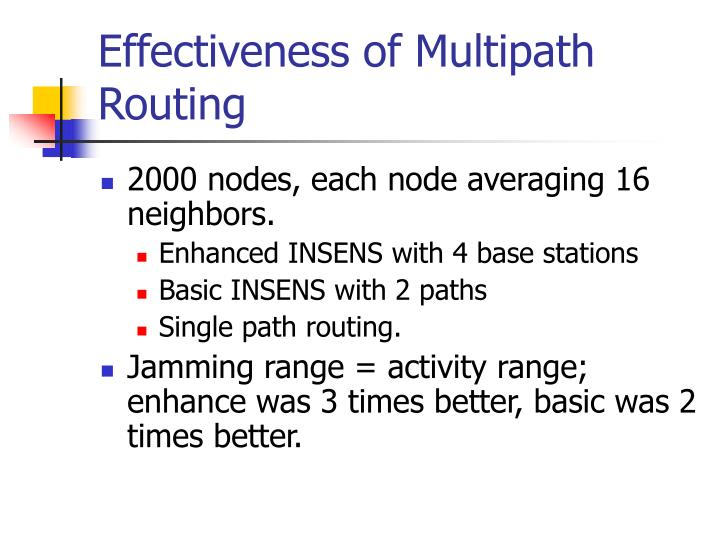 Effectiveness of Multipath Routing