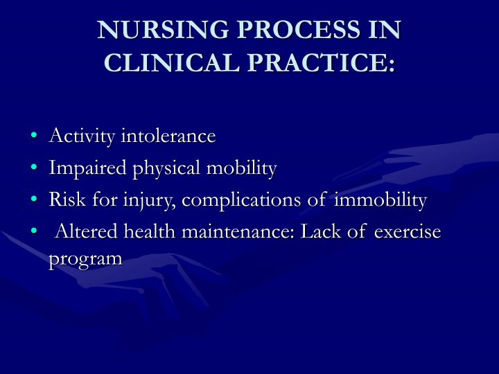 NURSING PROCESS IN CLINICAL PRACTICE: