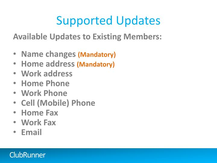 Supported Updates