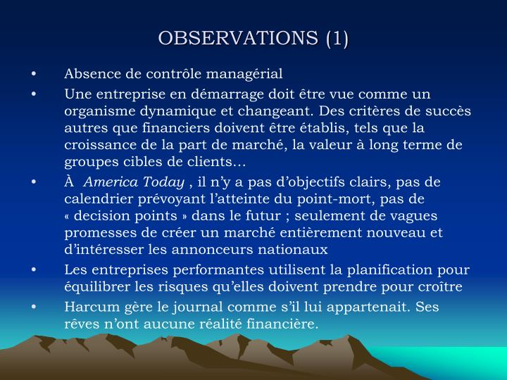 OBSERVATIONS (1)