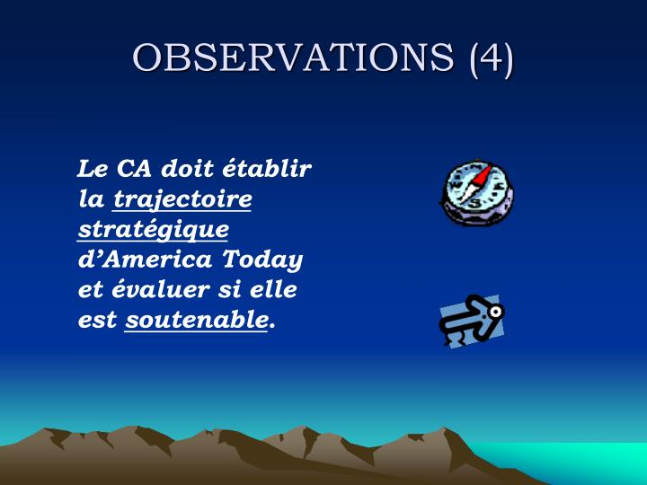 OBSERVATIONS (4)