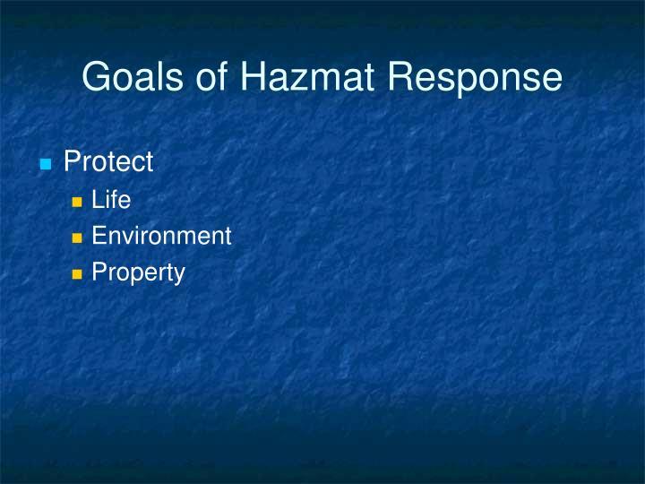 Goals of hazmat response