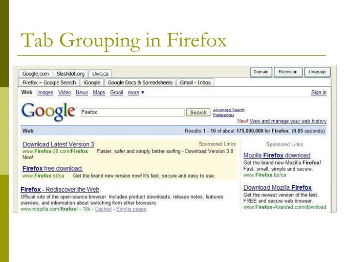 Tab grouping in firefox