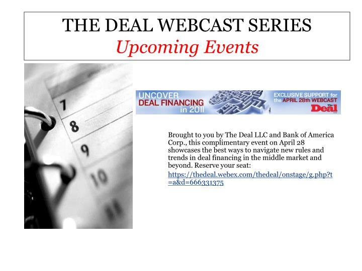 THE DEAL WEBCAST SERIES