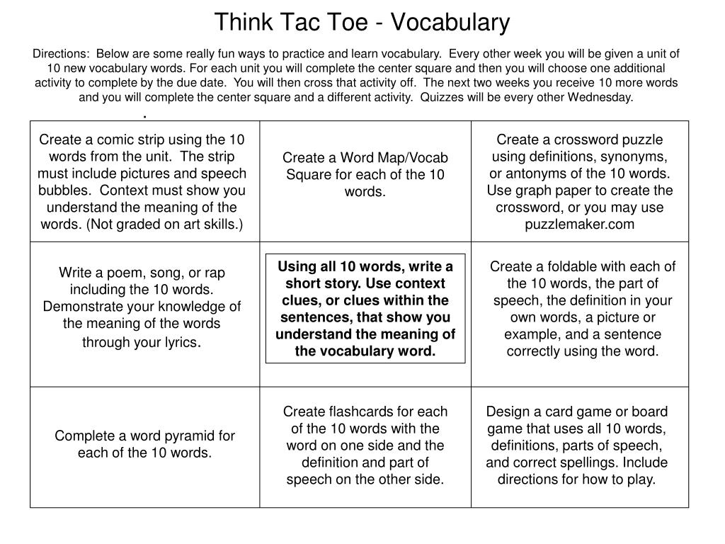 Instructions on how to make a crossword in a PowerPoint presentation