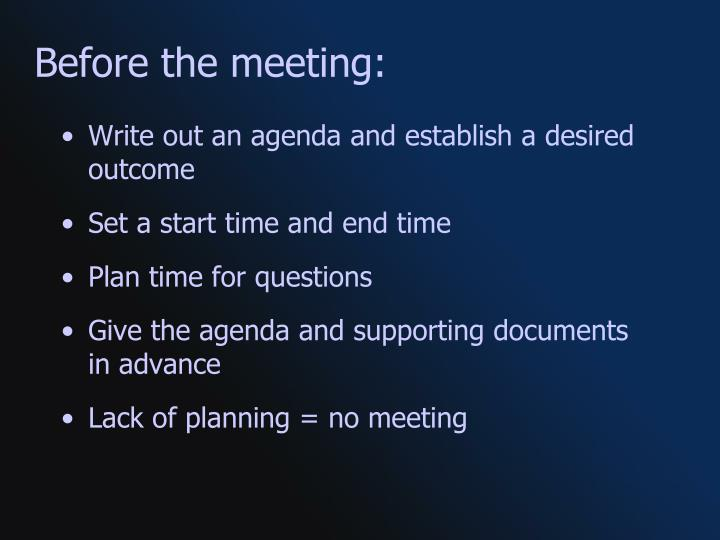 Before the meeting: