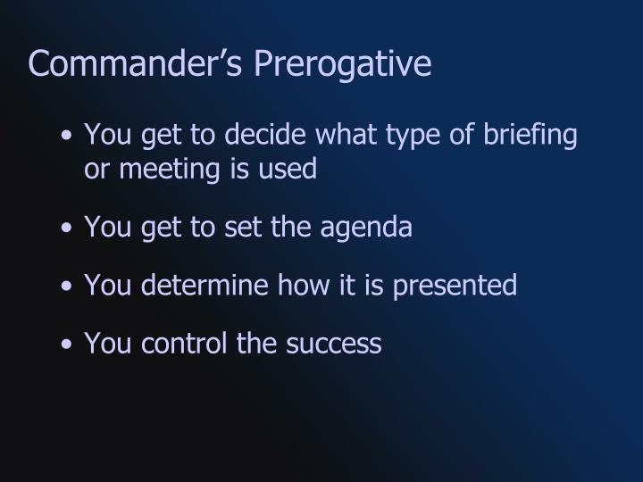 Commander's Prerogative