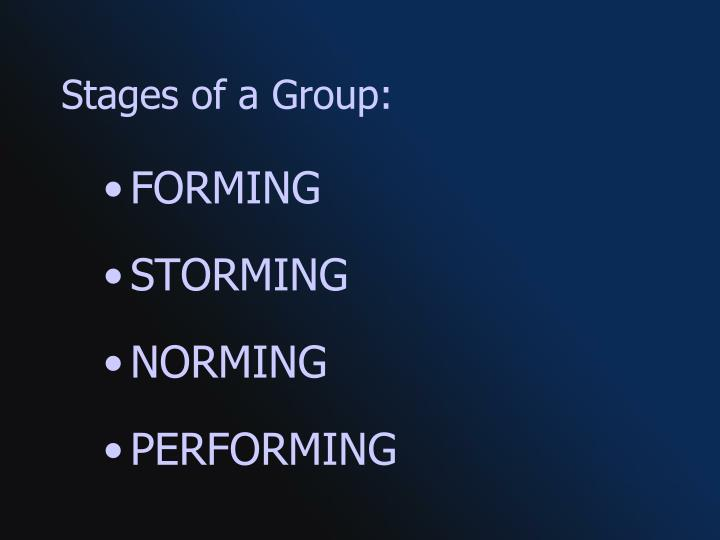 Stages of a Group: