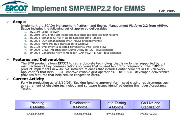 Implement SMP/EMP2.2 for EMMS