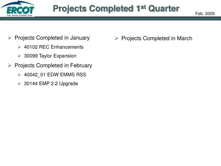 Projects Completed in January