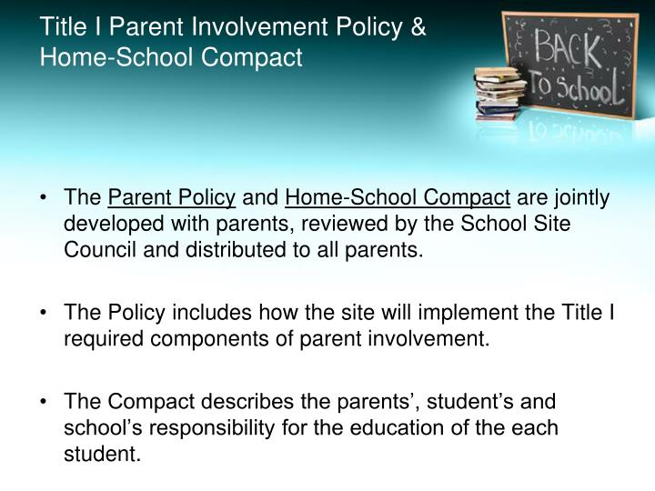 Title I Parent Involvement Policy & Home-School Compact