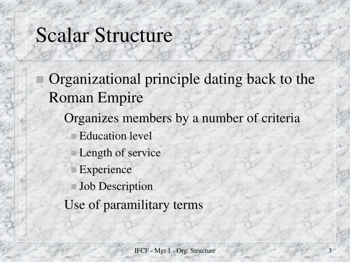 Scalar structure