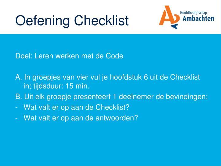 Oefening Checklist