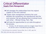 critical differentiator supply chain management