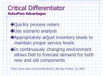 critical differentiator xelusplan advantages