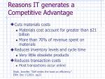 reasons it generates a competitive advantage