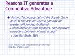 reasons it generates a competitive advantage1