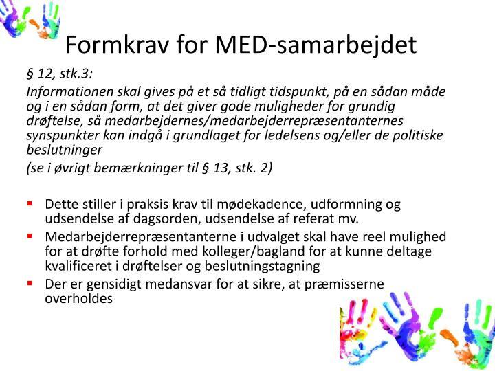 Formkrav for MED-samarbejdet