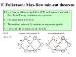 f fulkerson max flow min cut theorem1