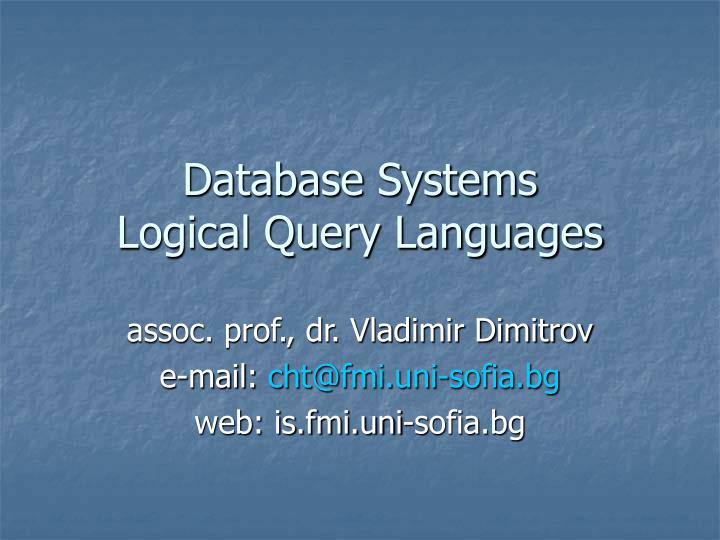database systems logical query languages n.