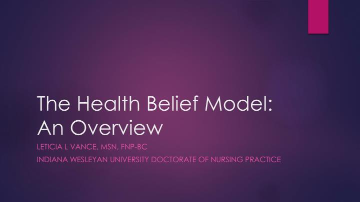 the health belief model an overview n.