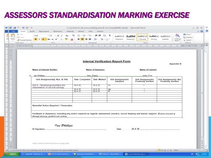 Assessors Standardisation marking exercise