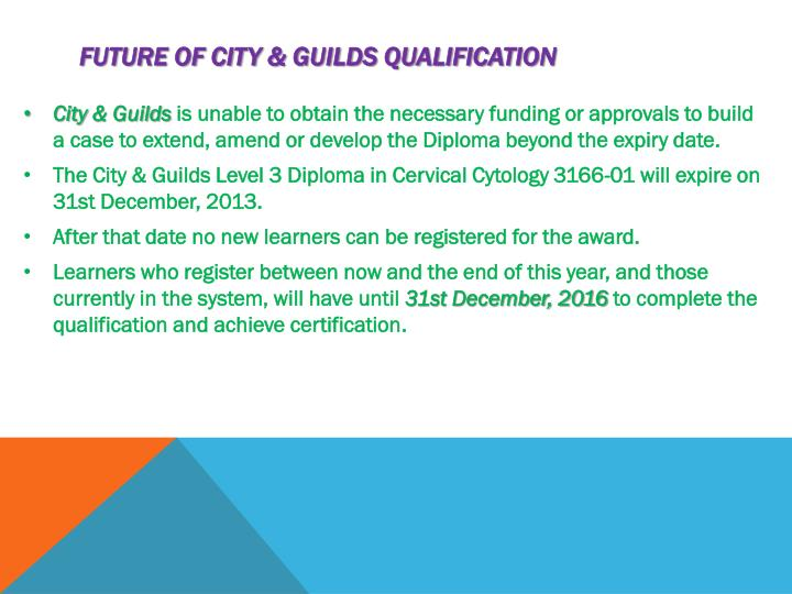 Future of City & Guilds qualification