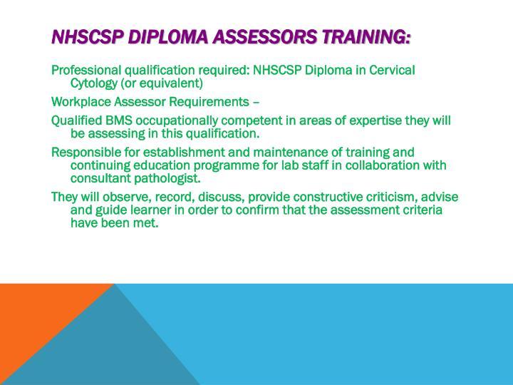 NHSCSP Diploma Assessors training: