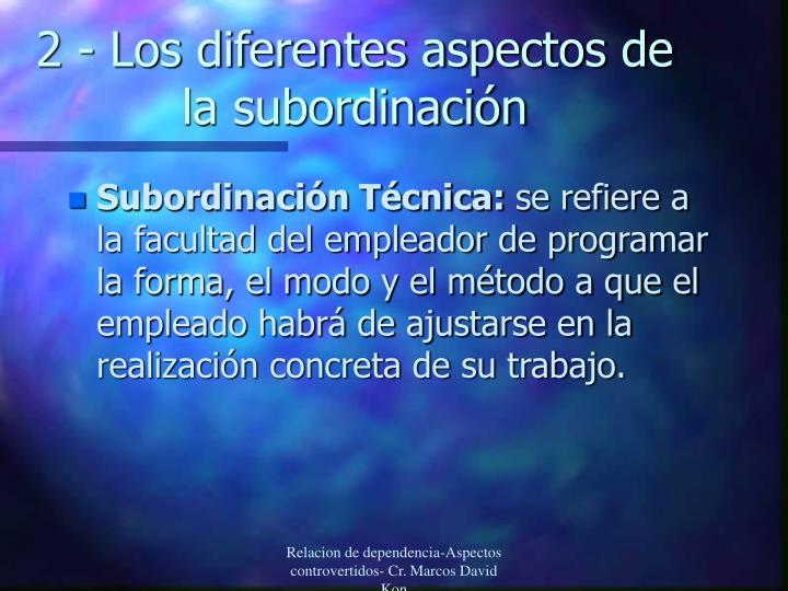 2 - Los diferentes aspectos de la subordinación