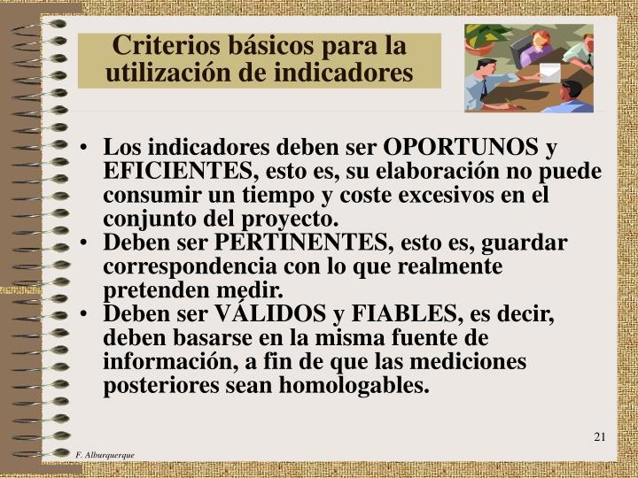 Criterios básicos para la utilización de indicadores