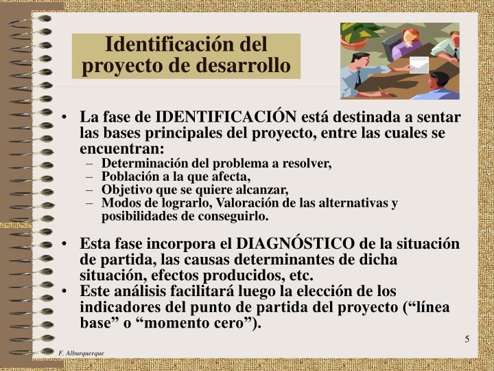 Identificación del proyecto de desarrollo
