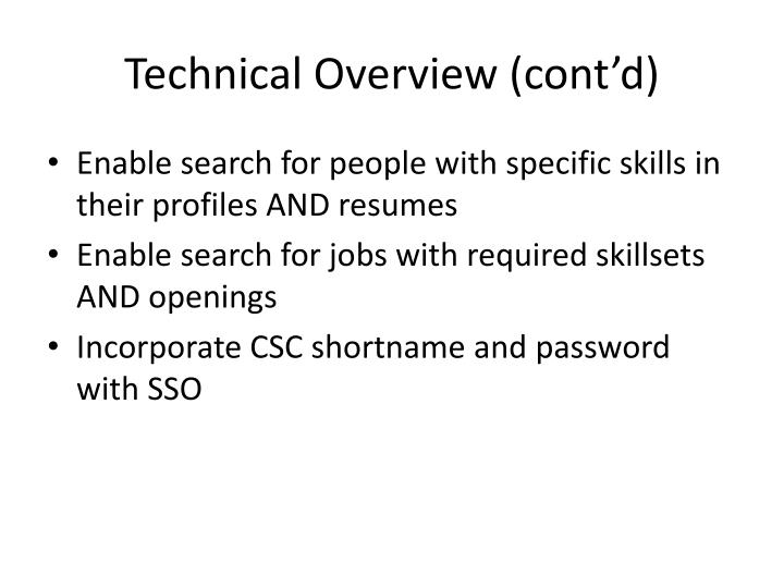 Technical Overview (cont'd)