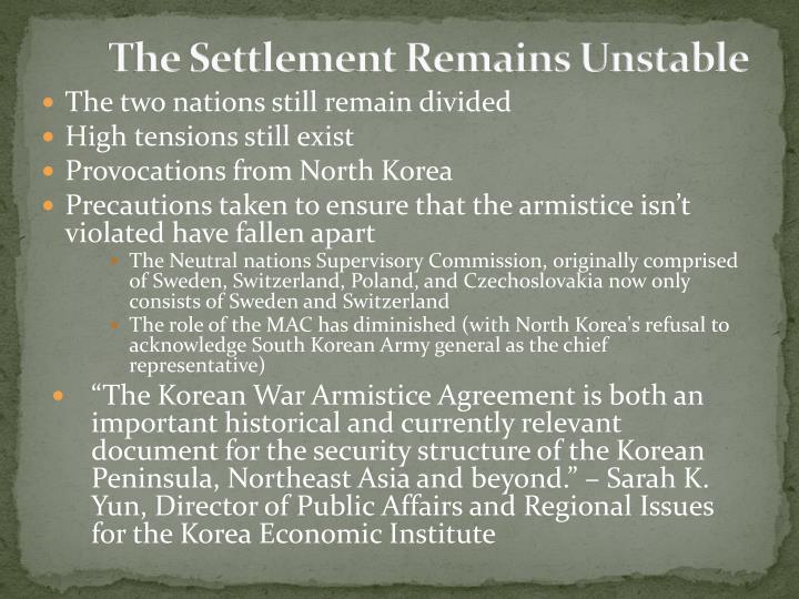 The Settlement Remains Unstable