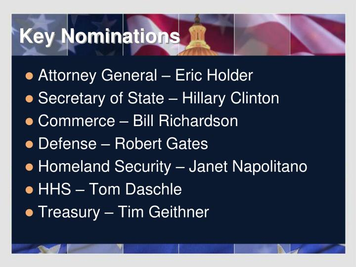 Key Nominations